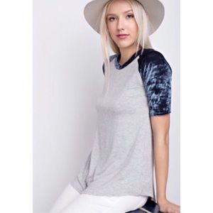 Tops - Navy/Gray Crushed Velvet Short Sleeve Tee